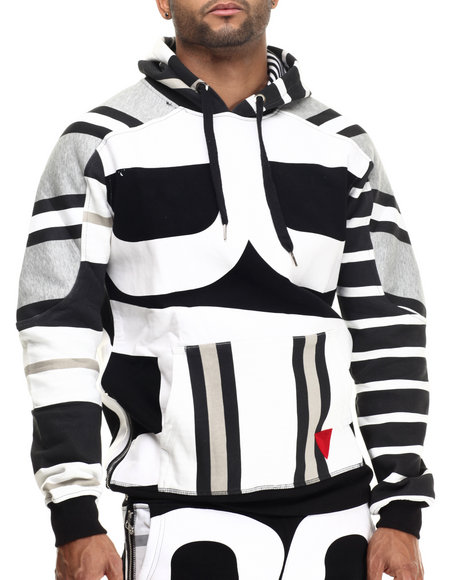 Bass By Ron Bass - Men Black Bass Striped Pullover Hoodie