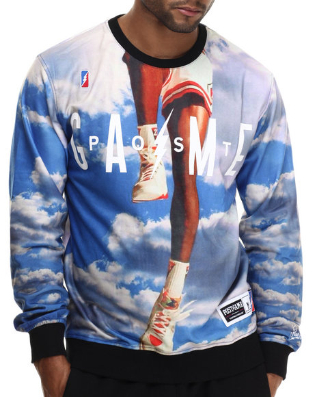 Post Game - Men Blue Above The Clouds Crewneck Sweatshirt