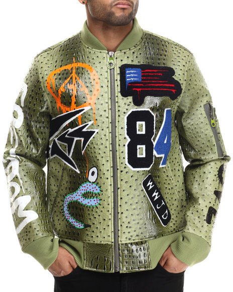 Bass By Ron Bass - Men Green Kinging Ostrich Bomber Jacket