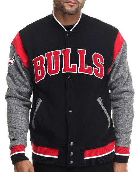Mitchell & Ness - Men Black Chicago Bulls Nba Role Player Fleece Jacket