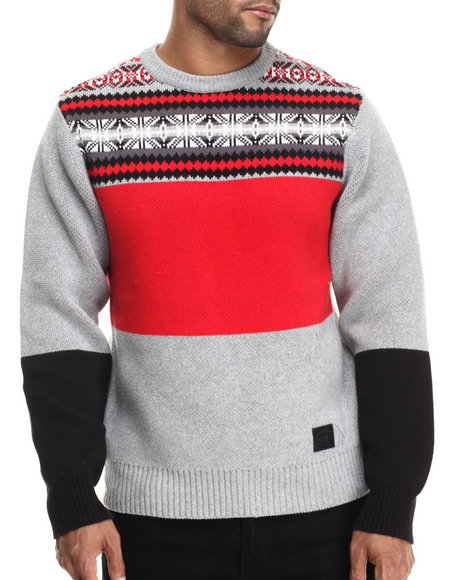 Ur-ID 188319 Parish - Men Black,Grey,Red Intarsia Sweater