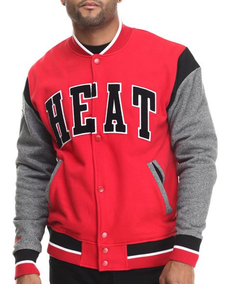 Mitchell & Ness - Men Red Miami Heat Nba Role Player Fleece  Jacket