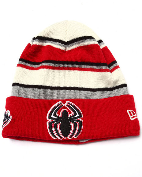 New Era Men The Amazing Spider-Man Winter Tradition Knits Hat Red