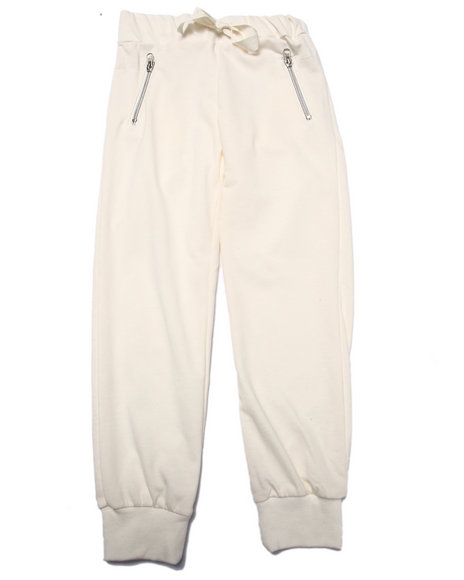 La Galleria - Girls Cream French Terry Zip Pocket Jogger Pant (7-16)