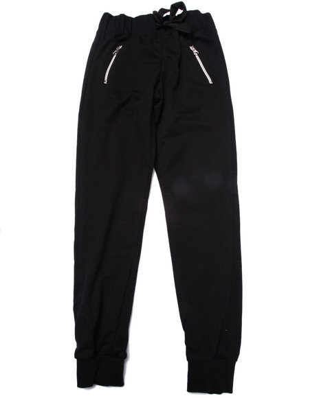 La Galleria - Girls Black French Terry Zip Pocket Jogger Pant (7-16)
