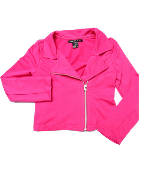 La Galleria - Girls Pink French Terry Moto Jacket (7-16)