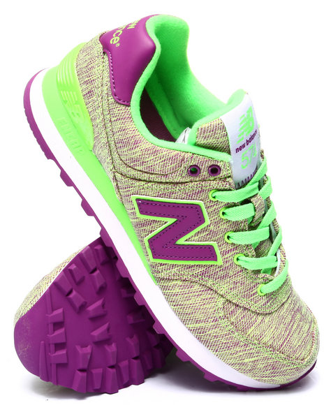 New Balance - Women Lime Green 574 Glitch Sneakers