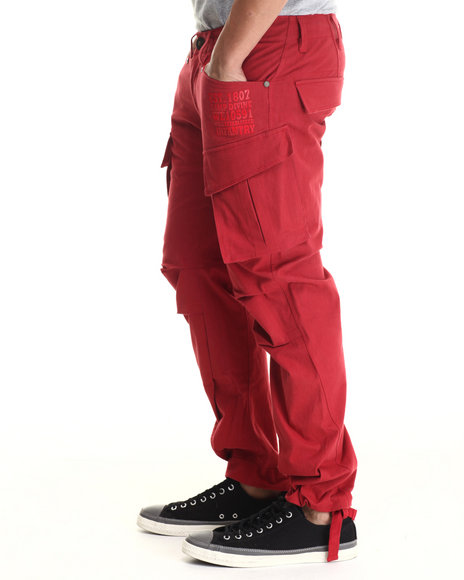 Well Established - Men Red Infantry Cargo Pant