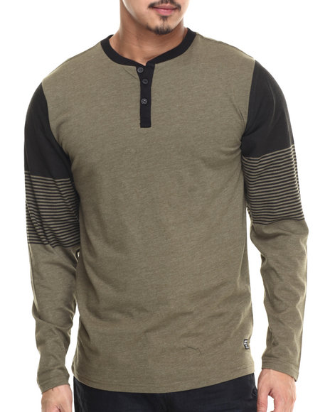 Buyers Picks - Men Olive Batter Up Henley - $36.00