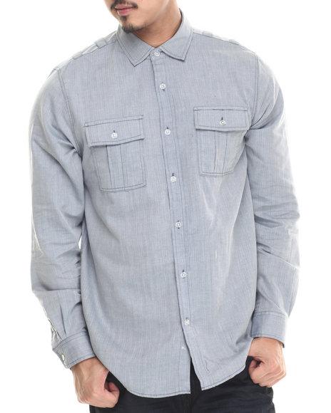 Buyers Picks - Men Blue Jacoby Herringbone Button Down Shirt