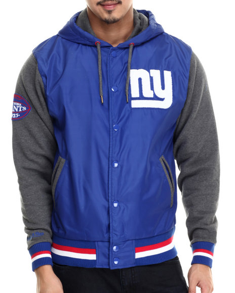 Mitchell & Ness - Men Blue New York Giants Nfl League Standing Jacket