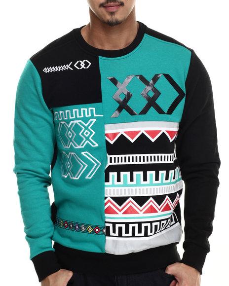 Koodoo - Men Teal Tribal Color Blocked Crewneck Sweatshirt