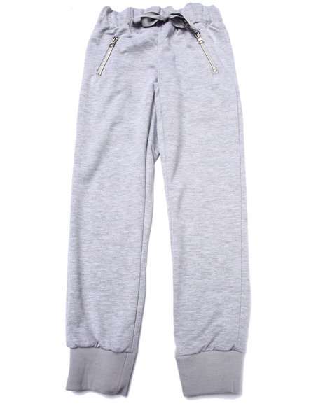 La Galleria - Girls Grey French Terry Zip Pocket Jogger Pant (7-16)