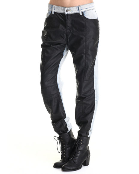 Evil Twin - Women Black,Light Wash Bad Boys Faux Leather Moto Jeans