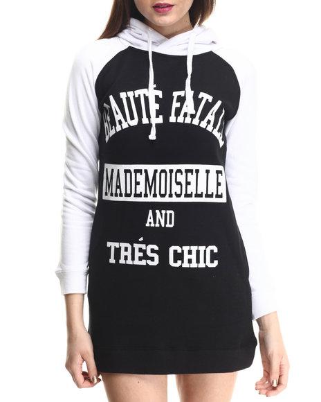 Soho Babe - Women Black,White Fleece 2 Tone Hoody Dress
