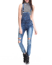 Jumpsuits - Cut Out Acid Wash Overall