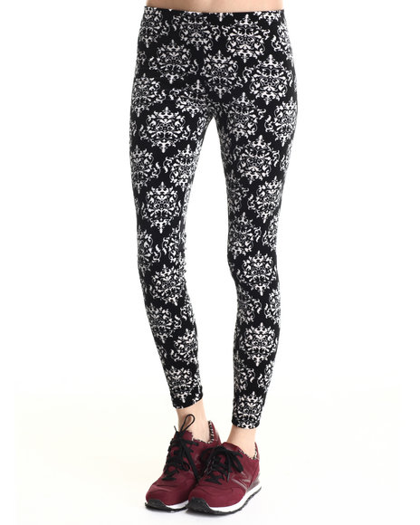 Leggsington - Women Black Beth Velvet Demask Print Legging