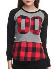 SOHO BABE - Frech Terry Plaid Trim Pullover