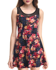 Women - Floral Printed Ponte Illusion Skater Dress