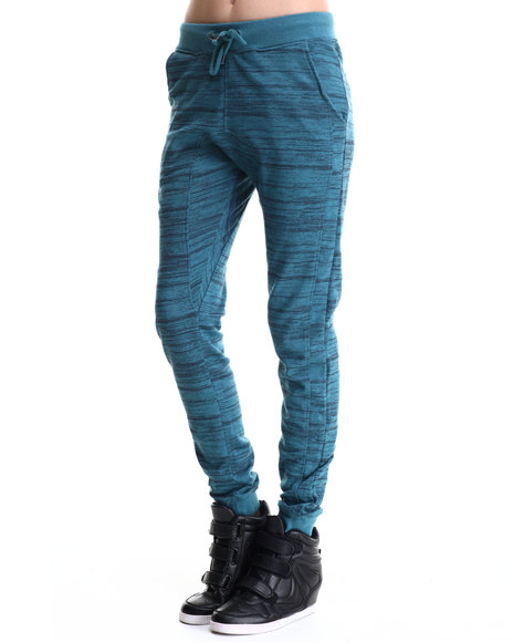 Soho Babe - Women Teal French Terry Semi Drop Crotch Jogger - $12.99