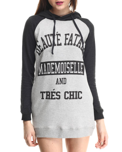Soho Babe - Women Charcoal,Grey Fleece 2 Tone Hoody Dress - $26.99
