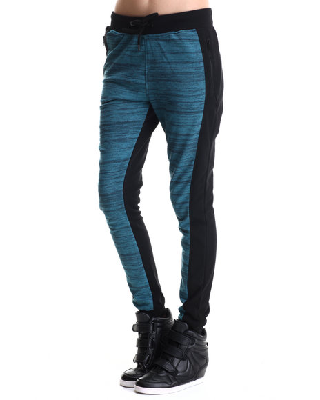 Soho Babe - Women Teal Marled Terry Front  Solid Back Fleece Jogger