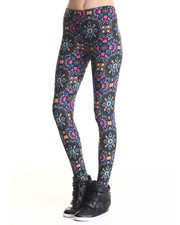Leggings - Delia Fleeced Lined Printed Leggings