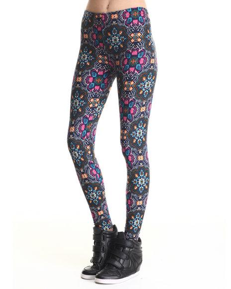Leggsington - Women Multi Delia Fleeced Lined Printed Leggings