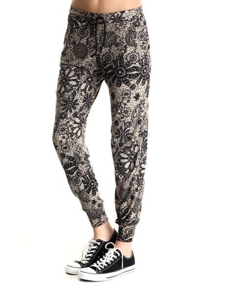 Leggsington - Women Tan Meryl Jogger Pant /Faux Lace Print