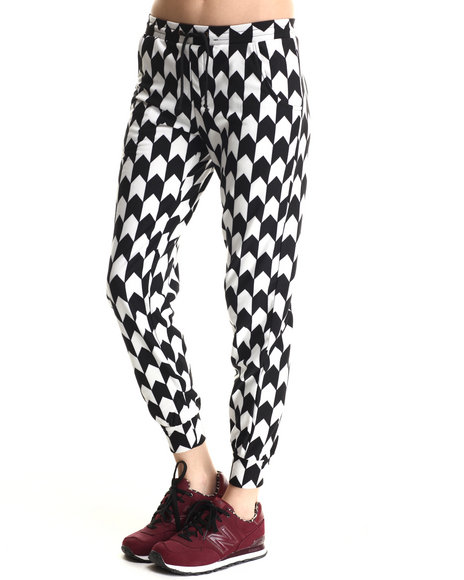 Ur-ID 188390 Leggsington - Women Black Black & White Herringbone Jogger Pants