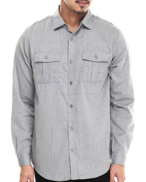 Buyers Picks - Men Grey Jacoby Herringbone Button Down Shirt