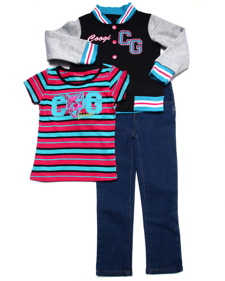 COOGI - Girls Black 3 Pc Set - Varsity Jacket, Tee, & Jeans (4-6X)