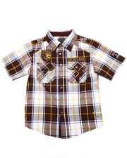 Sizes 8-20 - Big Kids - S/S PLAID WOVEN SHIRT (8-20)