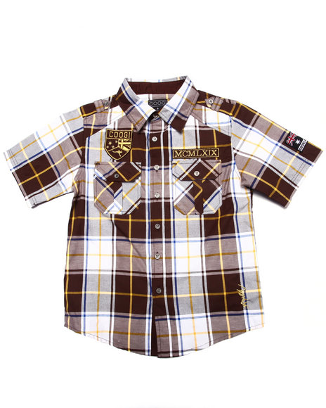 Coogi - Boys Brown S/S Plaid Woven Shirt (8-20)