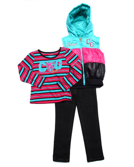 Coogi - Girls Pink 3 Pc Set - Puff Vest, Tee, & Jeans (4-6X) - $48.99