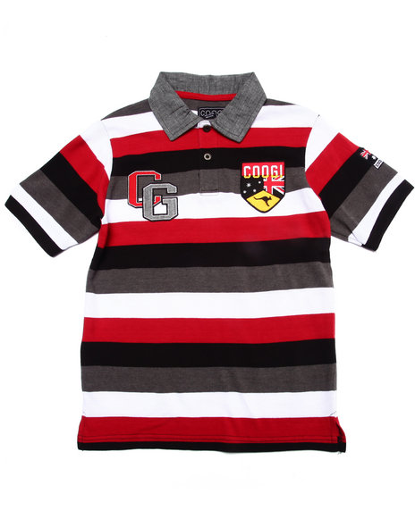 Coogi - Boys Red S/S Striped Polo (8-20)