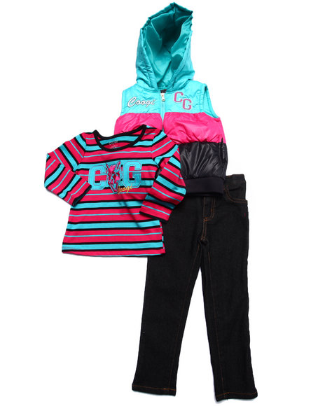 Coogi - Girls Pink 3 Pc Set - Puff Vest, Tee, & Jeans (2T-4T) - $33.99