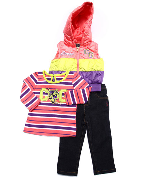 Coogi - Girls Coral 3 Pc Set - Puff Vest, Tee, & Jeans (Infant) - $25.99