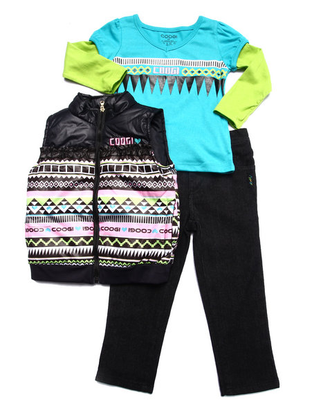 COOGI - Girls Black 3 Pc Set - Aztec Vest, Tee, & Jeans (2T-4T)