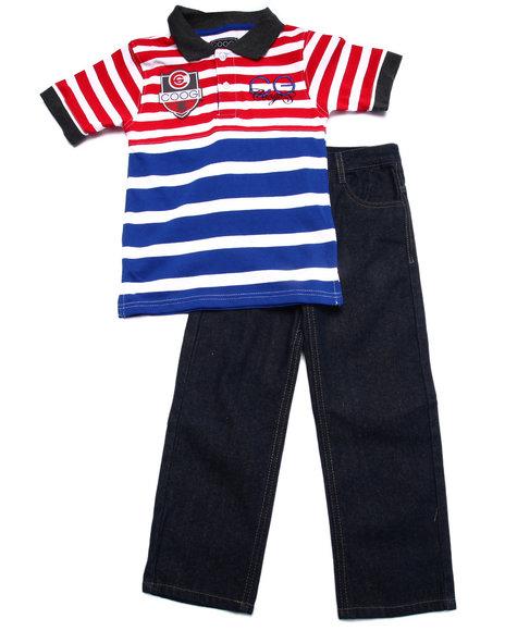 Coogi - Boys Blue 2 Pc Set - Striped Polo & Jeans (4-7) - $35.99