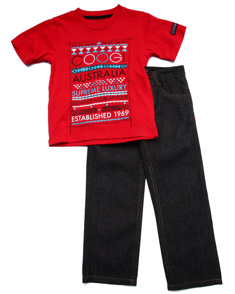 COOGI - Boys Red 2 Pc Set - Tee & Jeans (4-7)