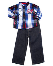 Sets - 2 PC SET - L/S PLAID WOVEN & JEANS (2T-4T)
