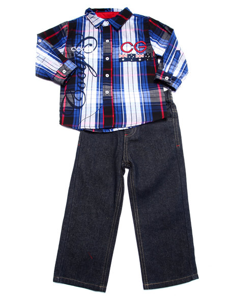 Coogi - Boys Navy 2 Pc Set - L/S Plaid Woven & Jeans (2T-4T)