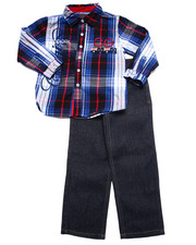 Sets - 2 PC SET - L/S PLAID WOVEN & JEANS (4-7)