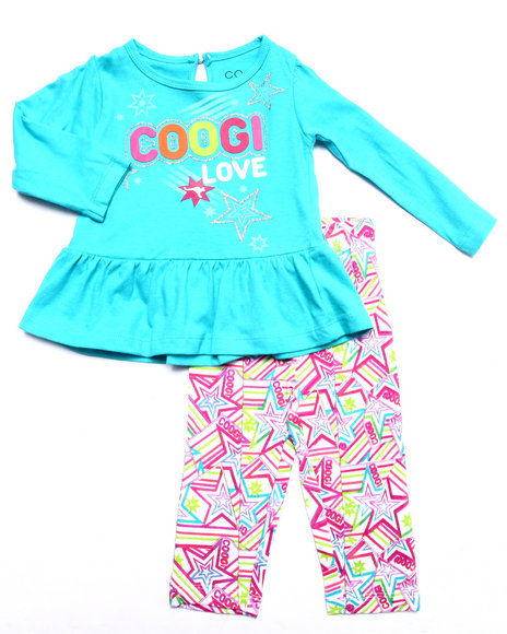 Coogi - Girls Blue 2 Pc Set - L/S Top & Printed Leggings (Infant) - $19.99