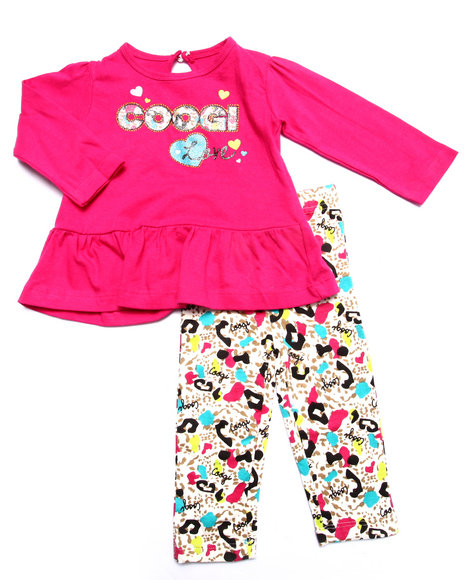 Coogi - Girls Pink 2 Pc Set - L/S Top & Printed Leggings (Infant) - $24.99
