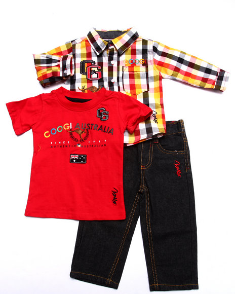 COOGI - Boys Red 3 Pc Set - Plaid Woven, Tee, & Jeans (Infant)
