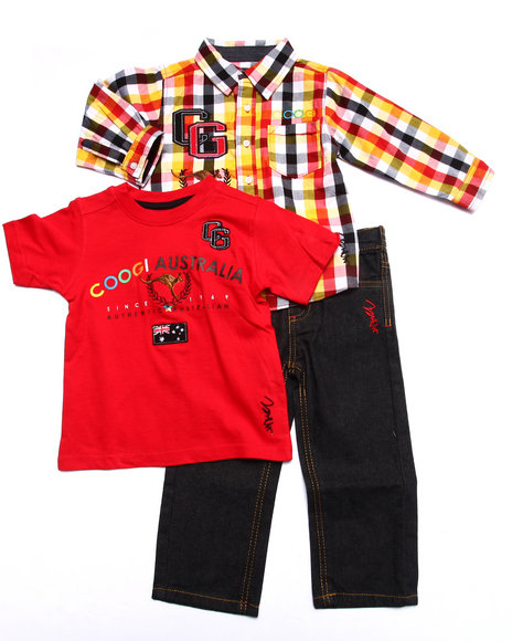 Coogi - Boys Red 3 Pc Set - Plaid Woven, Tee, & Jeans (2T-4T)