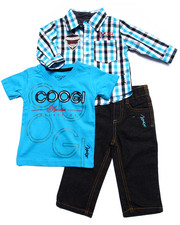 Sets - 3 PC SET - PLAID WOVEN, TEE, & JEANS (INFANT)