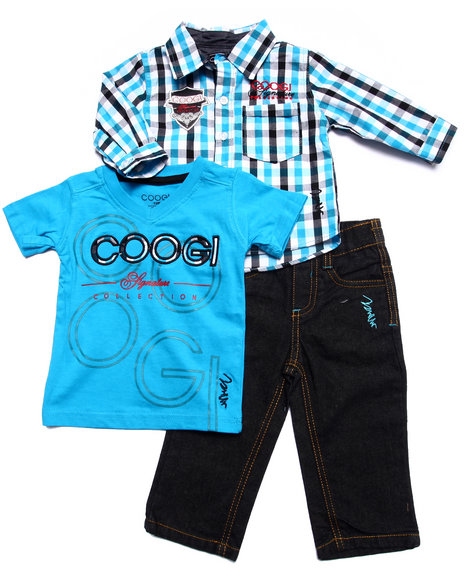 COOGI - Boys Blue 3 Pc Set - Plaid Woven, Tee, & Jeans (Infant)